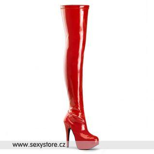 TEEZE-3000/RSPT Červené lakované kozačky nad kolena