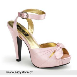 Růžové saténové sandálky na podpatku BETTIE-04/BPSA