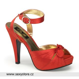 Červené saténové sandálky na podpatku BETTIE-04/RSA