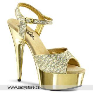 Zlaté sexy boty DELIGHT-609G/G/M