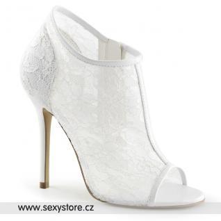 Svatební bílé krajkové lodičky AMUSE-56/IVLC-MS na vysokém podpatku