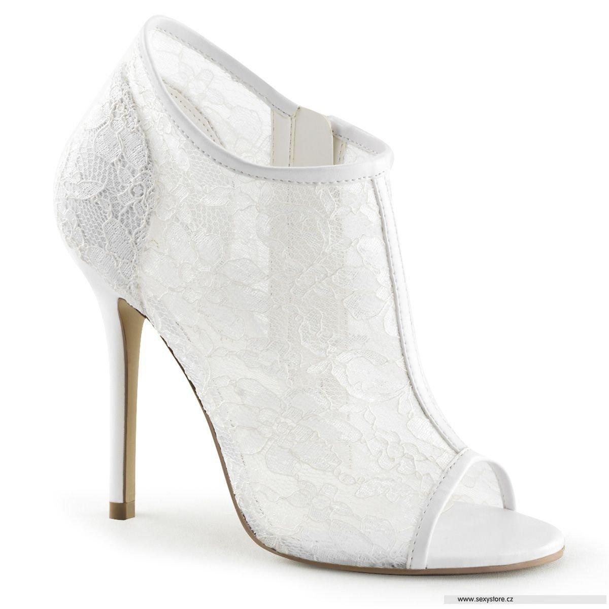 Svatební bílé krajkové lodičky AMUSE-56 IVLC-MS na vysokém podpatku ... 650d53c476