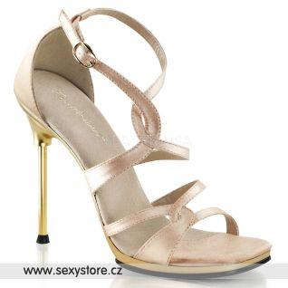 Svatební béžové sandálky na jehlovém podpatku CHIC-46/NUSA/G
