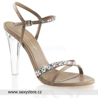 Luxusní sandály CLEARLY-415/TPPU hnědé/průhledné
