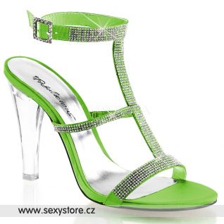 Luxusní sandály CLEARLY-418/APGNSA průhledné/zelené