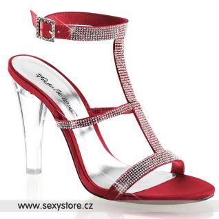 Luxusní červené sandály CLEARLY-418/ROUSA