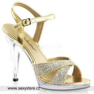 Zlaté sandálky na podpatku FLAIR-419G/G/C