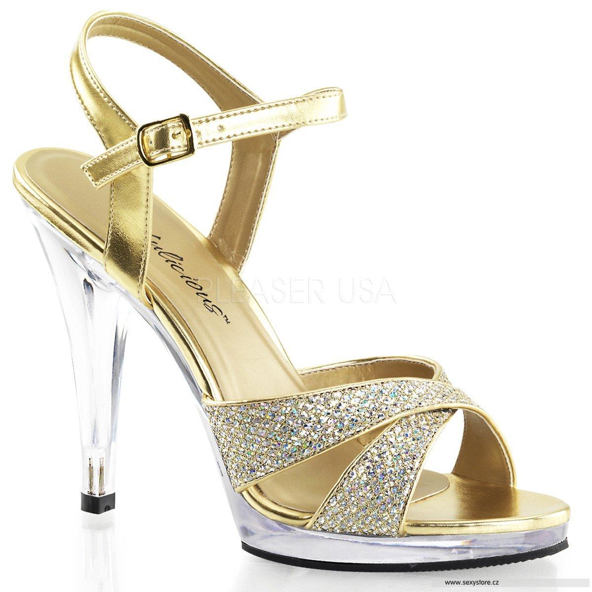 Zlaté sandálky na podpatku FLAIR-419G G C  49cbb5341e