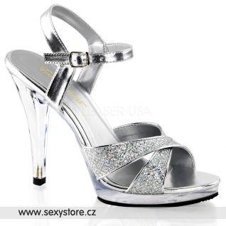 Stříbrné sandálky na podpatku FLAIR-419G/S/C