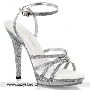 LIP-128/SG/M Stříbrné páskové sandále na podpatku