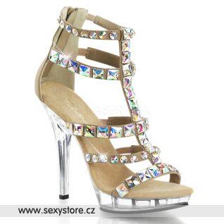 LIP158/TPNB/M Luxusní zdobené béžové sandále na podpatku