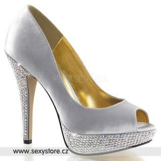 Luxusní stříbrná svatební obuv na podpatku a platformě LOLITA-02/SSA