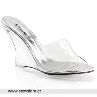 Průhledné pantofle na klínku LOVELY-401/C/M
