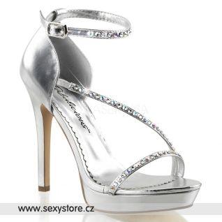 Stříbrné luxusní boty na svatbu LUMINA-26/SPU