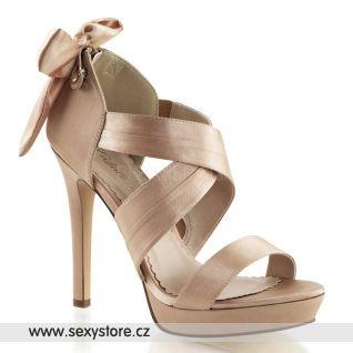 Béžové luxusní společenské sandálky na podpatku a platformě LUMINA-29/BHSA