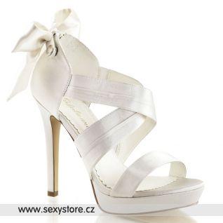 Bílé svatební sandálky na podpatku a platformě LUMINA-29/IVSA