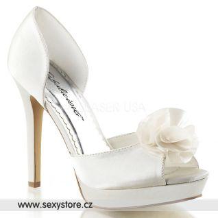 Bílé svatební boty na podpatku LUMINA-34/IVSA