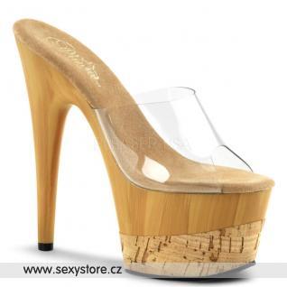ADORE-701FW/C/FW Sexy pantofle na podpatku a platformě imitace dřeva
