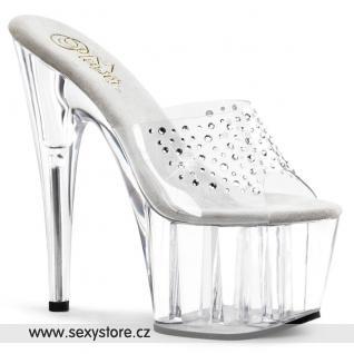 ADORE-701RS/C/M Průhledné sexy pantofle na podpatku a platformě