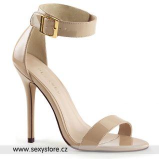 Béžové krémové páskové sandály AMUSE-10/CR na vysokém podpatku