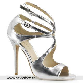 Stříbrné páskové boty AMUSE-15/SMPU na podpatku