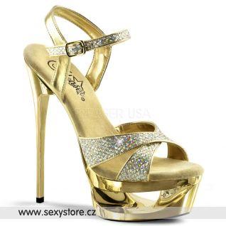 ECLIPSE-619G/G/M Zlaté sexy boty na jehle