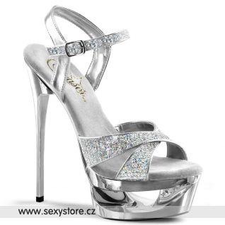 ECLIPSE-619G/S/M Stříbrné sexy boty na jehle