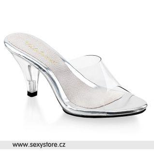 Průhledné pantofle na nízkém podpatku BELLE-301/C/M