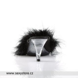 Černé pantofle s labutěnkou BELLE-301F/B/SAT