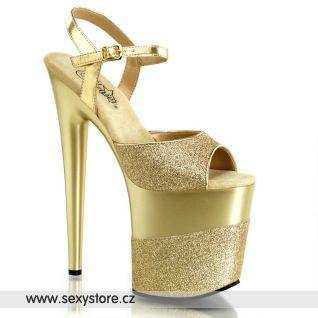 Zlaté sexy boty FLAMINGO-809-2G/G/G-G