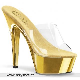 KISS-201/C/GCH zlaté pantofle na podpatku a platformě