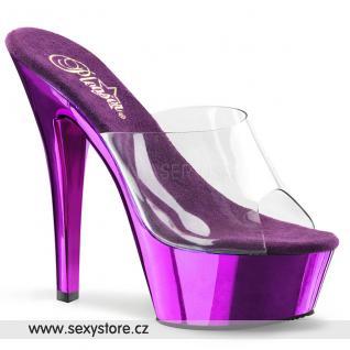 KISS-201/C/PPCH fialové pantofle na podpatku a platformě