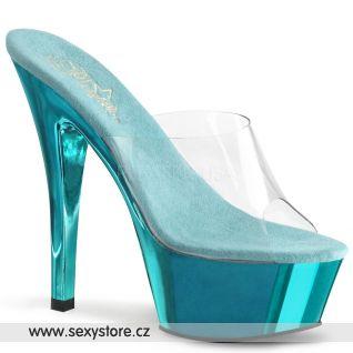 KISS-201/C/TECH tyrkysové pantofle na podpatku a platformě