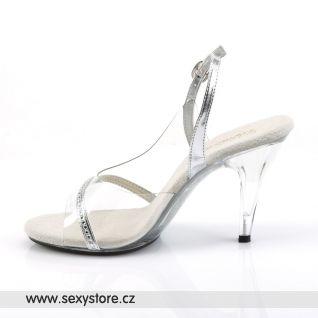 Průhledné sandálky CARESS-456/C/RS na podpatku