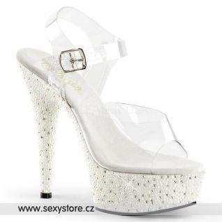 PEARLIZE-608/C/W Sexy luxusní sandály na vysokém podpatku
