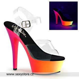 Svítící sexy pole dance boty RAINBOW-208UV/C/NMC na vysokém podpatku a platformě