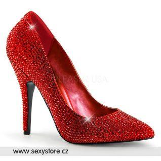 Luxusní červené lodičky na podpatku SEDUCE-420RS/RSA