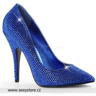 Luxusní modré lodičky na podpatku SEDUCE-420RS/RYBLSA
