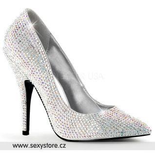 Luxusní stříbrné lodičky na podpatku SEDUCE-420RS/SSA