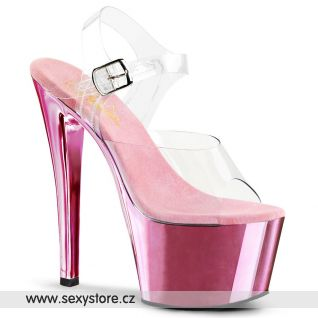 SKY-308/C/BPCH Růžové sexy boty na podpatku a platformě