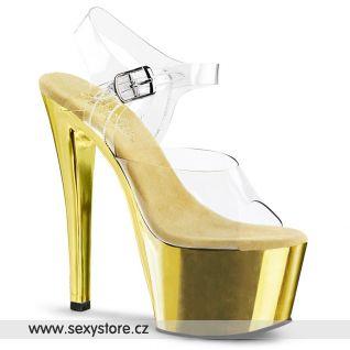 SKY-308/C/GCH Zlaté sexy boty na podpatku a platformě