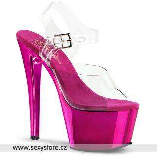 SKY-308/C/HPCH Tmavě růžové sexy boty na podpatku a platformě