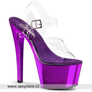 SKY-308/C/PPCH Fialové sexy boty na podpatku a platformě