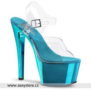 SKY-308/C/TECH Tyrkysové sexy boty na podpatku a platformě