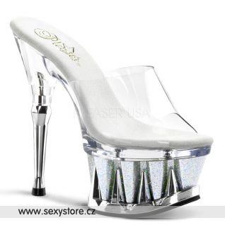 Sexy gogo taneční pantofle SPIKY-601MG/C/SG na podpatku a platformě
