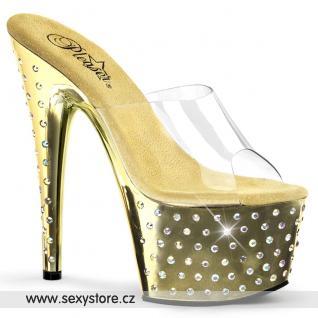 STARDUST-701/C/GCH Zlaté pantofle na podpatku a platformě