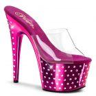 STARDUST-701/C/HPCH Tmavě růžové pantofle na podpatku a platformě