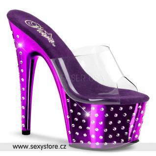 STARDUST-701/C/PCH Luxusní fialové pantofle na podpatku a platformě