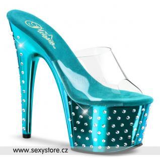 STARDUST-701/C/TQCH Luxusní tyrkysové pantofle na podpatku a platformě