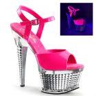 Sexy růžové svítící boty ILLUSION-659UV/NHP/SCH